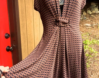 CUSTOM Beautifully Swingy Dress, sample in brown and black geometric print knit, very full flared skirt