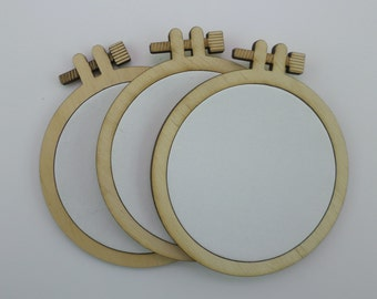 Laser cut embroidery hoop with quality canvas for painting 10 cm (4' inches)
