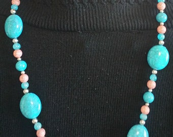 Turquoise Peach beaded necklace