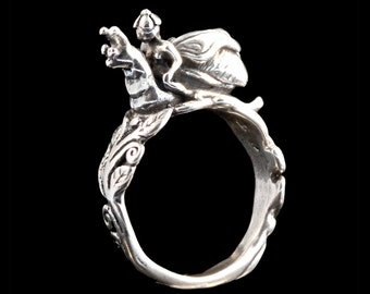 Fairy Ring Silver - Snail Ring Silver - Fairy Snail Rider Ring - Fairy Jewelry Silver Fairy Snail Jewelry - Fantasy Ring