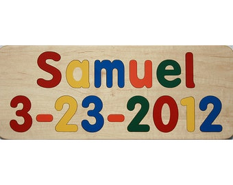 Personalized Wooden Birthday Name Puzzle - Includes Date of Birth