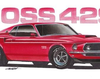 1969 Ford Mustang Boss 429 12x24 inch Art Print by Jim Gerdom