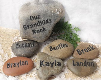 Garden Stones Engraved Our grandkids rock set 3 to 6 names gift for mom our grandkids rock set 11 to 15 names gift for mom personalized workwithnaturefo
