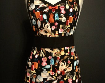 Vintage 50's Makeup  Pin Up Apron  *Ready to Ship