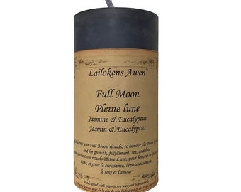 """Full Moon 2"""" x 4"""" Scented Pillar Soy Candle"""