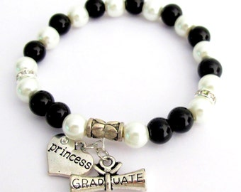 Grad Gift Graduation Gift Enjoy the journey College Grad Gift, Princess Bracelet,Initial Grad Bracelet Free Shipping In USA