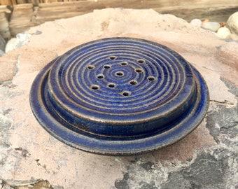 Blue Stoneware Draining Soap Dish - Round  - 2 pieces -  wheel thrown - ceramic