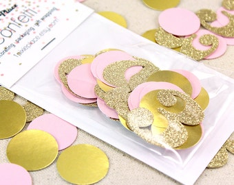 Pink and Gold Birthday Confetti - Number confetti, Table confetti, Party Decorations