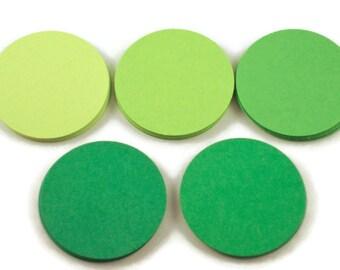 50 Paper Die Cut Circles  1.5 inch Circles  in Fresh Greens