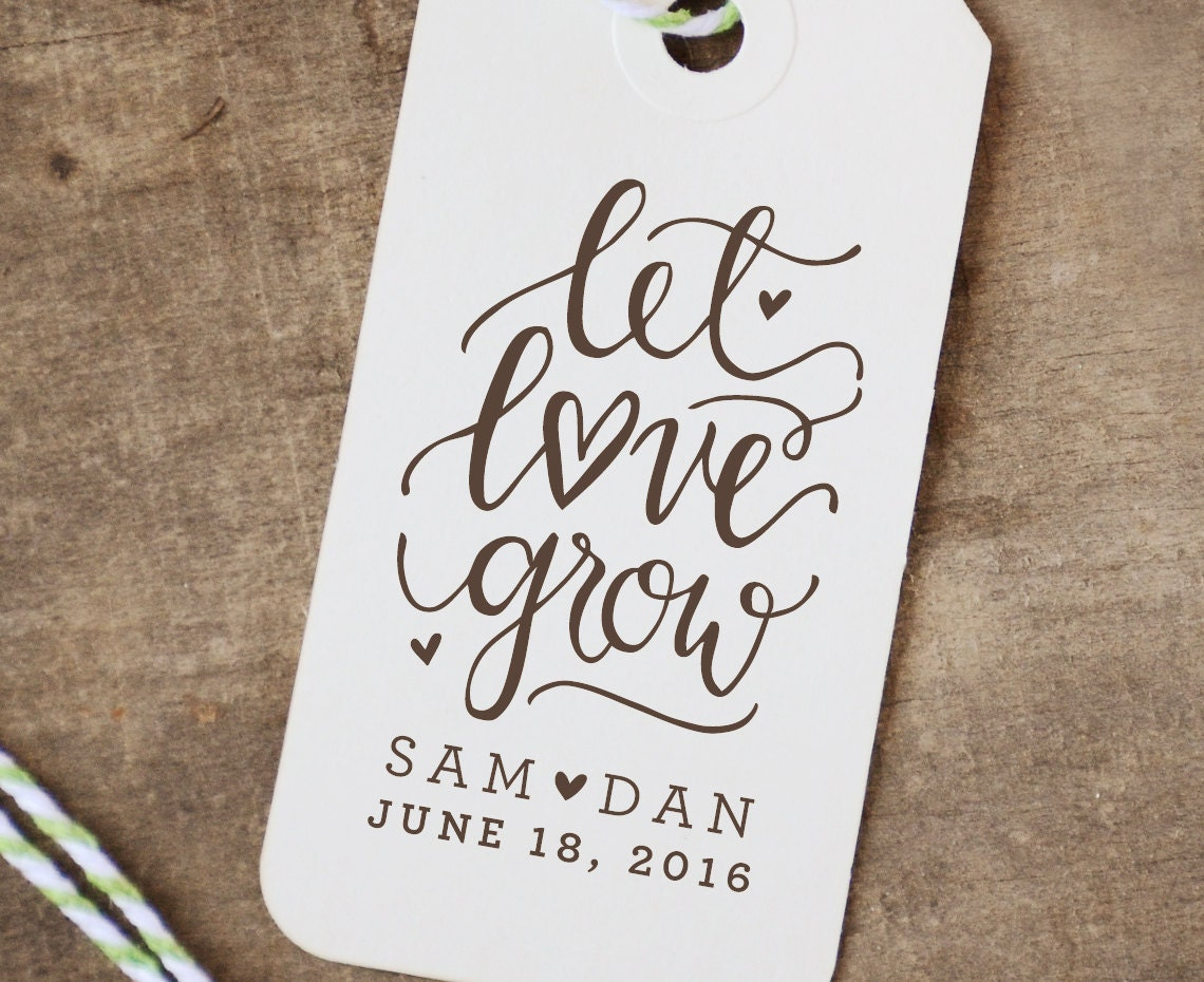 Let Love Grow Rubber Stamp Personalized Wedding Favor Flower