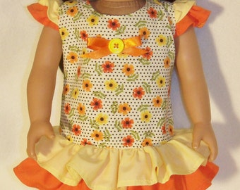 18 inch Doll Long Waisted Yellow & Orange Trimmed  Dress