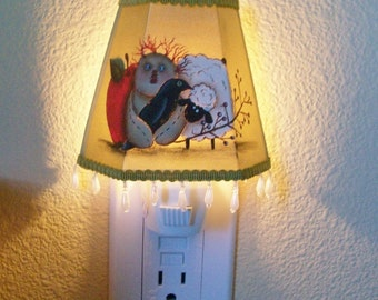 Hand Painted Fabric Nightlight with Dangling Pearls Sheep Apple Rag Doll & Crow