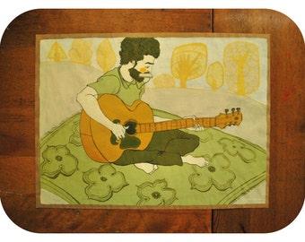 Ish Guitar Playing Drifter Guy (original painting)