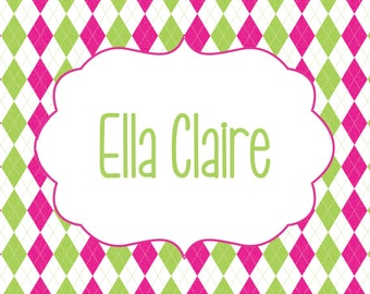 Pink and Green Preppy Personalized Argyle Notecards