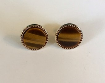 Vintage Classic Tiger Eye Round Gold Tone Fixed Back Cuff Links Marker Mark Shield and Crown