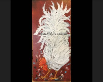 """11"""" X 24"""" #420 Fluff Tail White Rooster Art on Red Rustic Wood"""