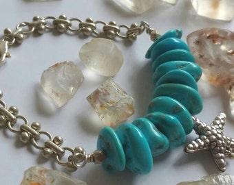 Natural Sleeping Beauty Aqua Blue Turquoise Fine Silver Starfish Charm Bracelet
