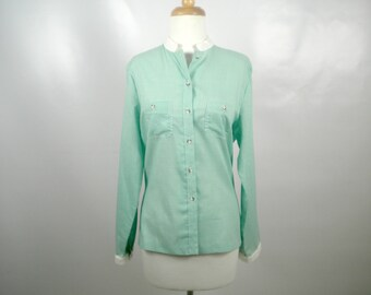 Bobbie Brooks Green and White Gingham Shirt/BLouse