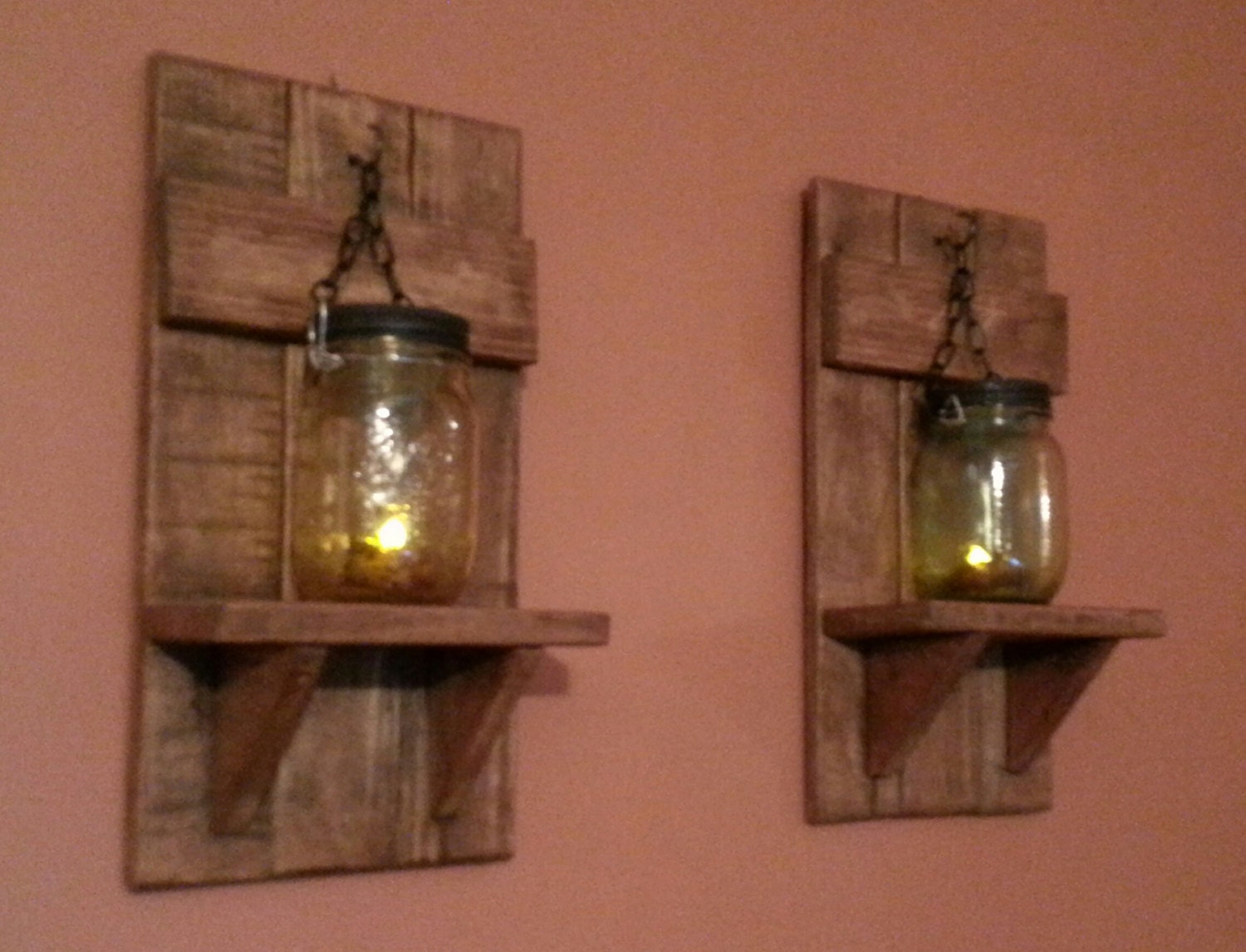 Mason jar wall candle holders rustic candle holders Country
