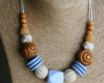 Colorful Beaded Necklace / Boho Chic Necklace / Chunky Bead Necklace / Statement Necklace / Blue And Beige Necklace / Woman Necklace Beaded