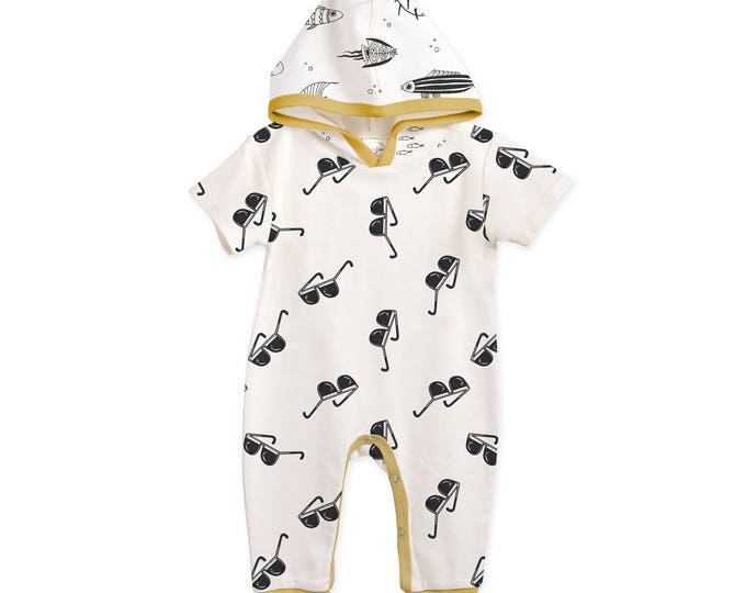 Newborn Baby Coming Home Outfit, Baby Hoodie Romper, Baby Short Sleeve Hooded Romper, Infant Baby Hoodie Outfit, Sunglasses Tesa Babe