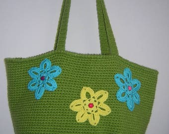Tote for summer green embellished with three flowers