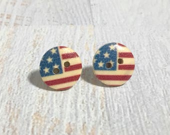 Painted Natural Wood American Flag USA Patriotic Button Stud Earrings with Surgical Steel Posts