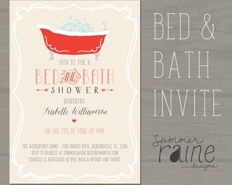 custom color bed and bath shower invitation digital printable bridal shower