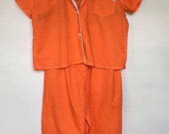 Vintage 2 Piece Pajama Set / Flowers / Orange / Sleepwear / 1960s / Retro / Groovy / Button Up / PJ's / Pajama Pants / Tulip