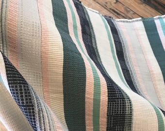 Striped Woven Cotton Blend in Teal, Blush, and Natural