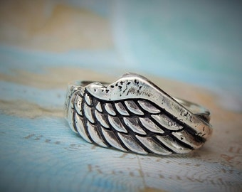 Wing Jewelry, Angel Wings, Angel Wings Ring, Sterling Silver Wing Ring by HappyGoLicky, Inspirational Jewelry Gift