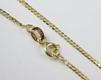 """10KT Solid Yellow Gold Chain Necklace -Gold Necklace - Curb chain- Finished for pendant - Made in Italy-18""""- SKU: 601307"""