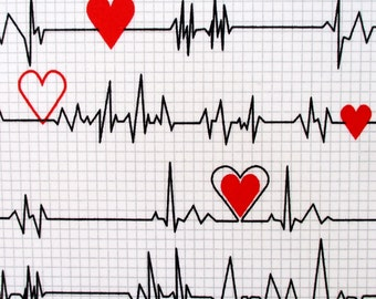 Fabric, Calling All Nurses, White Heartbeat EKG, Windham Quilting Cotton, Heart Monitor,  By The Yard