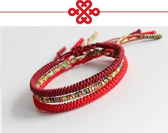 Classic Tibetan KNOTS LUCKY HANDMADE Bracelet Multi, Red and Dark Red (Protection)