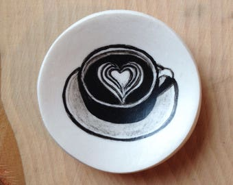 Coffee Ring dish, latte art jewelry holder, mini ring dish, gift for her, Valentine's Day gift, coffee lover, engagement ring dish