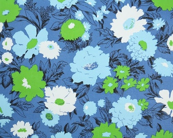 Retro Wallpaper by the Yard 70s Vintage Wallpaper - 1970s Vinyl Blue Lime Green and White Flowers