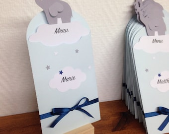 Menu is sold individually 2 in 1 - place card + menu - customizable elephant theme!