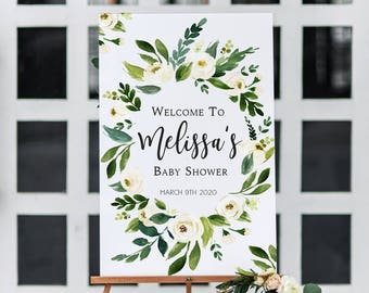 White Floral Baby Shower Welcome Sign Printable Greenery Baby Shower Welcome Sign White Floral Wreath Baby Shower Sign Printable Bohemian