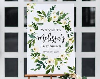 Plaque de bienvenue bébé Floral blanc douche verdure imprimable Baby Shower signe bienvenu blanc Couronne florale Shower de bébé signe Bohème imprimable