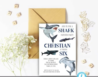 Shark Birthday Party Invitation Template Instant Download, Editable, Shark, Birthday Template, Shark Invitation, Shark Template, Sea, Edit