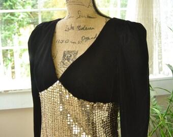 Vintage Black Velvet  and Sequins 80's Formal Gunne Sax Dress Jessica McClintock - L