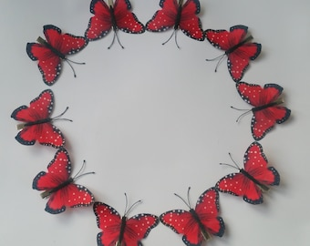 Red Large butterfly hair clips