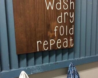 Laundry Room Wall Decor | Wash Dry Fold Repeat | Laundry Room Art | Wood Wall Laundry Room Sign |