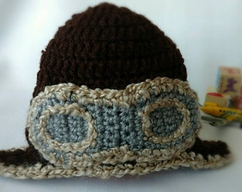 Boy's Pilot Hat- Baby Boy Hat with Pilot Goggles- Baby Boy Airplane Hat