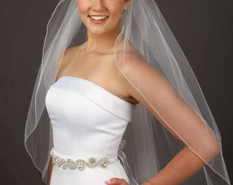 Simple Wedding Veil - 1 Tier Bridal Veil - Fingertip Length Veil - Cathedral Veil - 10 Sizes & Colors - Fast Shipping!