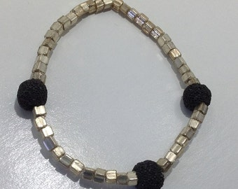 Silver and Black Diffuser Bracelet