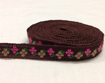 Nastro in cotone marrone con decorazioni floreali 10mm