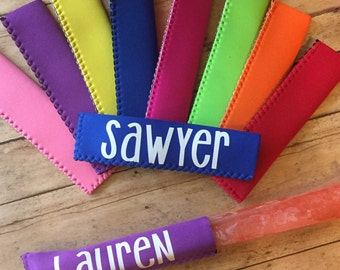 Popsicle holder, popsicle sleeve, personalized popsicle holder, kids, classroom gifts, party favors, party, popsicle, neoprene popsicle hold