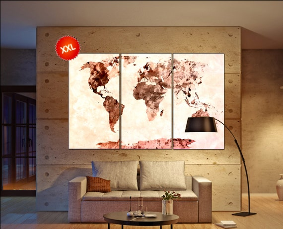 World Map Canvas Art Print  print on canvas World Map Canvas Art Print artwork large world map Print home office decoration