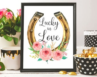 Lucky in love Talk Derby to me print Horseshoe art watercolor print Derby shower Derby day invite printable Bridal shower Derby party gift